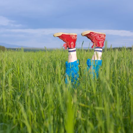 Legs, in a green grass under the blue sky Stock Photo - 3367393