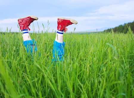 antipode: Legs, in a green grass under the blue sky