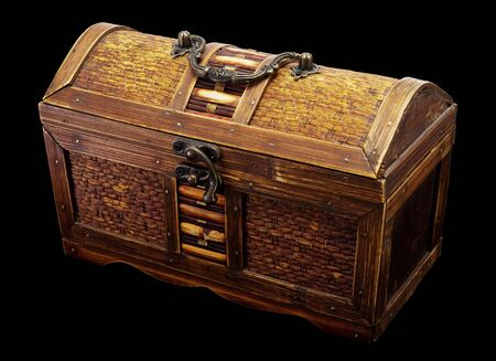 Wooden chest with iron handles on a dark background Stock Photo - 3367419