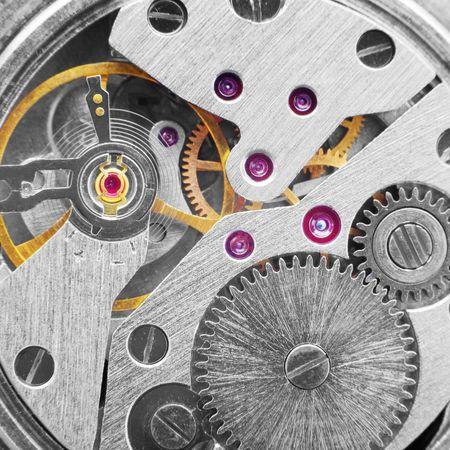 macrophoto: Photo of an ancient metal clockwork (macro-photo) Stock Photo