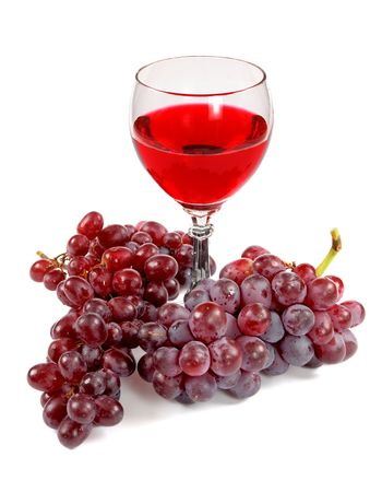 Glass of red wine and grapes clusters on a white background Stock Photo - 3501570