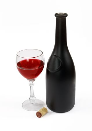 Red wine bottle, glass of wine and stopper on a white background Stock Photo - 3501529