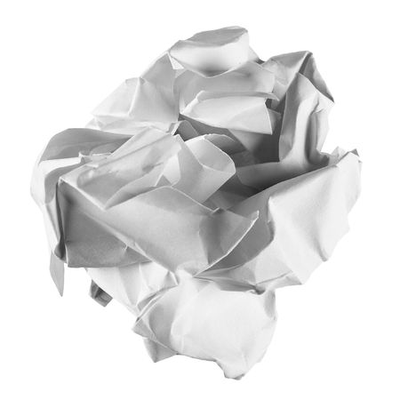 The clean sheet of a paper crumpled in a ball on a white background Stock Photo