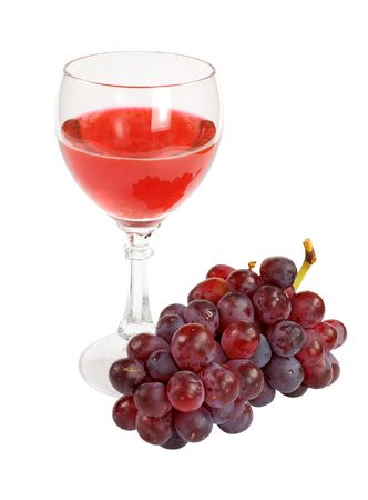 Glass of red wine and grapes cluster on a white  Stock Photo - 3616876