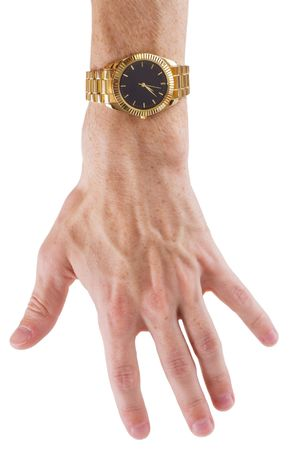 mans watch: Mans hand with gilt watch on a white background Stock Photo