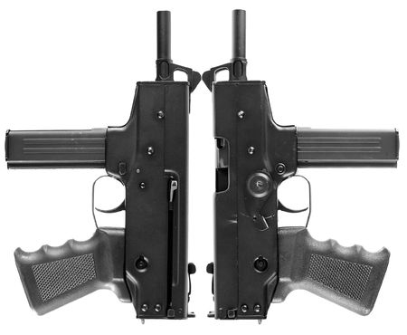 Two automatic pistols on a white background