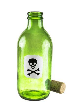 veneno frasco: Peque�a botella de veneno sobre un fondo blanco