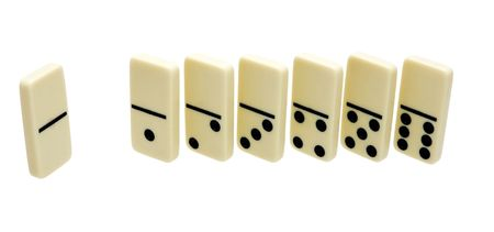 dado: seven dominos standing dice on a white background Stock Photo