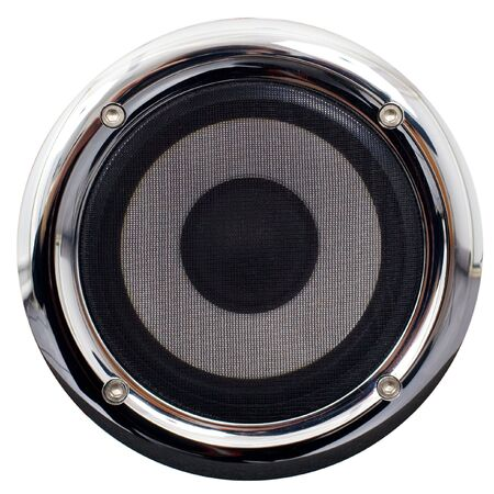 Round speaker with the chromeplated framework on a white background