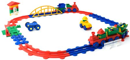 The childrens plastic colour railway it is isolated on a white background photo
