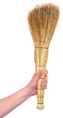 besom: Old dirty broom on a white background