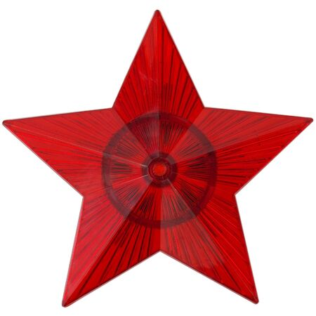 estrellas cinco puntas: Red estrella de cinco puntas sobre el fondo blanco Foto de archivo