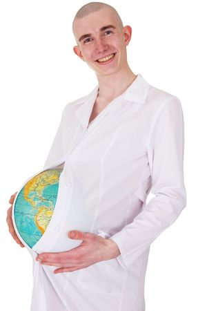The man in a white dressing gown with the globe instead of a stomach Stock Photo - 3790250
