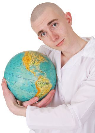 Man embracing the world on the white background Stock Photo - 3790260