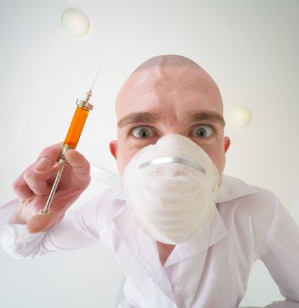 smock: Ominous doctor with syringe in the hand