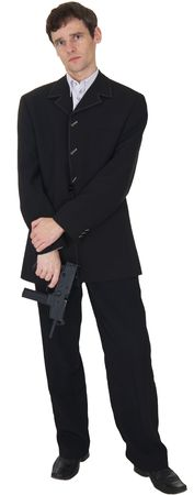 The man in a black suit up in arms on the white background Stock Photo - 3804869