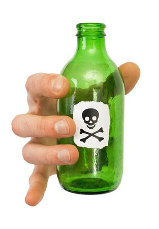 To hold male hand green bottle pictured skull photographed on a white background photo