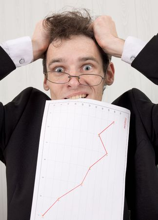 The businessman in horror because of problems with the finance Stock Photo - 3829001