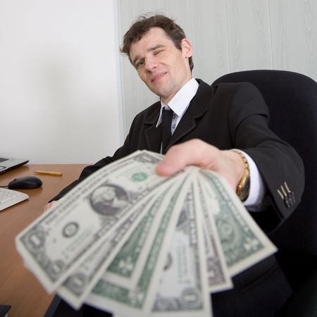 armful: The artful businessman stretches you an armful of money Stock Photo