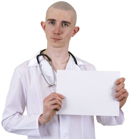 The doctor on a white background with a tablet and stetoscope photo
