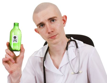 Man in white doctors smock demonstrates bottle with sticker of the poison photo