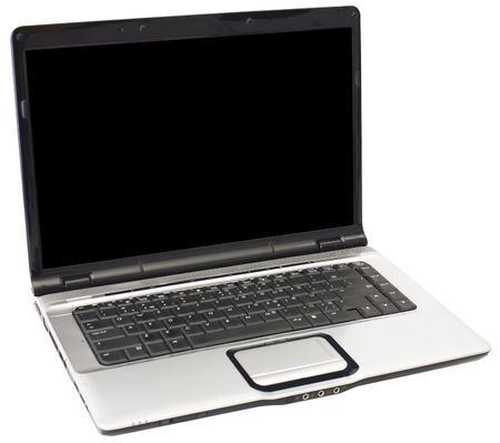 The old silver laptop on a white background Stock Photo - 3891800