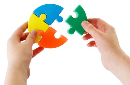 try: Hands keeping slice puzzle try its collect Stock Photo
