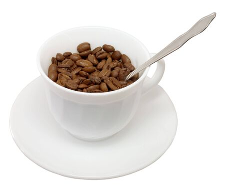 pervaded: Saucer on cost cup pervaded coffee grain Stock Photo