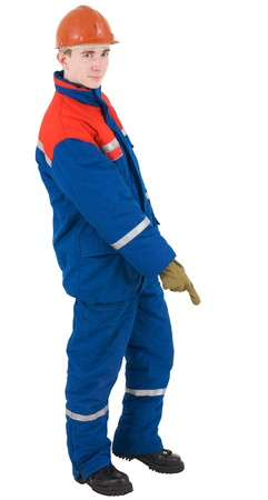 adjuster: Young man in overalls of the adjuster, helmet and glove