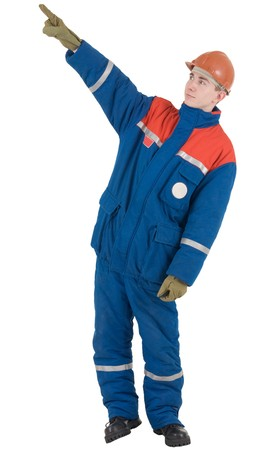 rigger: Man in overalls and helmet indicates upstairs Stock Photo