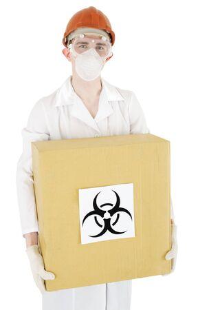Scientist keep carton box with sticker sign biohazard photo
