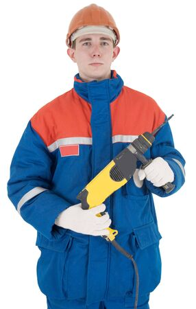 perforator: Man in overalls and yellow perforator on the white background Stock Photo