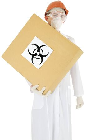 Scientist holding in hand carton box with sticker sign biohazard Stock Photo - 4019511