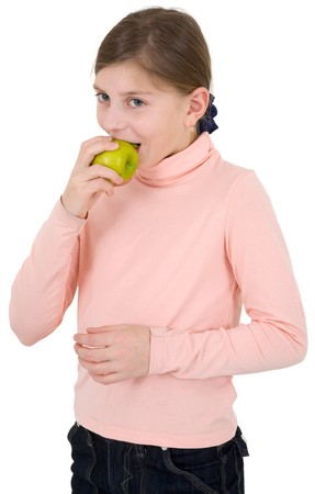 pinkish: Girl in the pinkish sweater with apple on a white background Stock Photo
