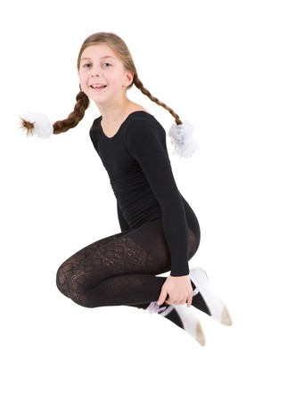 Jumping girl in black ballet tights and points photo