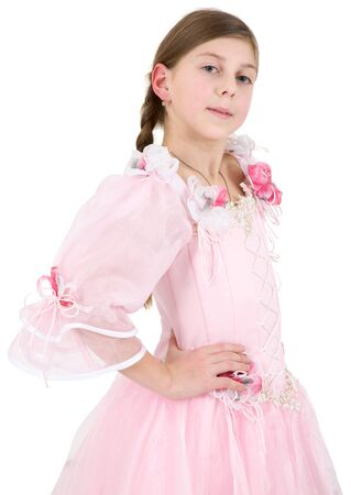 pinkish: Girl in pinkish dress on a white background