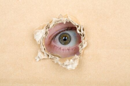 disrupt: Eye looking from a hole in a sheet of cardboard