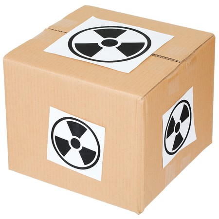 radiation hazard: Cardboard box with a radiation hazard sign on white Stock Photo