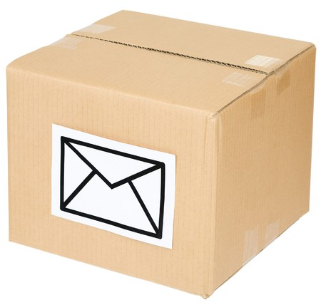 Cardboard box with a mail sign on the white Stock Photo - 4163478