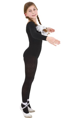 Girl in black tights on the white background photo