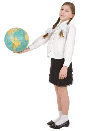 Girl hold on hand blue terrestrial globe photo