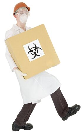 Man in doctors smock and cardboard box with biohazard on white photo