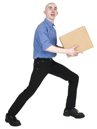 autograph: Man holding cardboard box on the white background