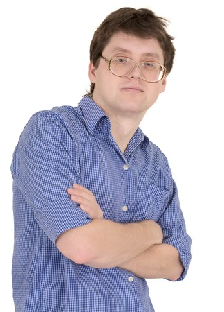 skeptic: Skeptic male portrait in spectacles on the white background