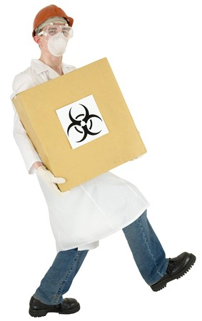 Scientist holding in hand carton box with sticker sign biohazard Stock Photo - 4201841