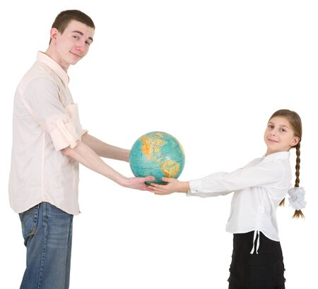 Girl and man hold on hands terrestrial globe photo
