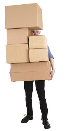 stockman: Man and pile carton boxes