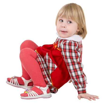 sidelong: Little girl in red dress on the white background Stock Photo