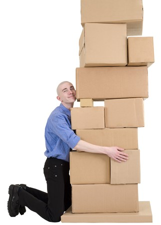 stockman: Man embrace pile from cardboard boxes on white Stock Photo