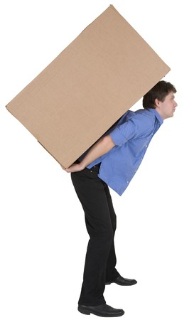stockman: Man holding very heavy brown cardboard box